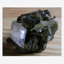 Epidote Crystal Cluster with Calcite Crystal 001